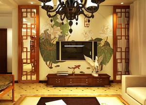 120平米中式复古风格客厅电视背景墙装修效果图