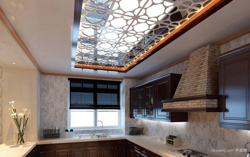 现代美式厨房艺术玻璃吊顶装修设计效果图