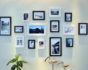 现代简约风格客厅照片背景墙效果图