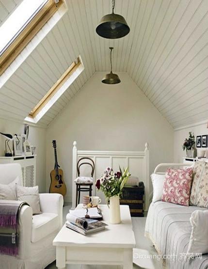 小户型北欧风格清新斜顶阁楼装修效果图