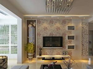 两室一厅现代风格客厅印花电视背景墙装饰