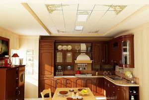 现代美式厨房铝扣板吊顶装修设计效果图
