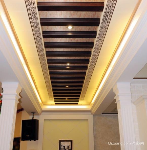 美式复式楼走廊生态木吊顶装修设计效果图