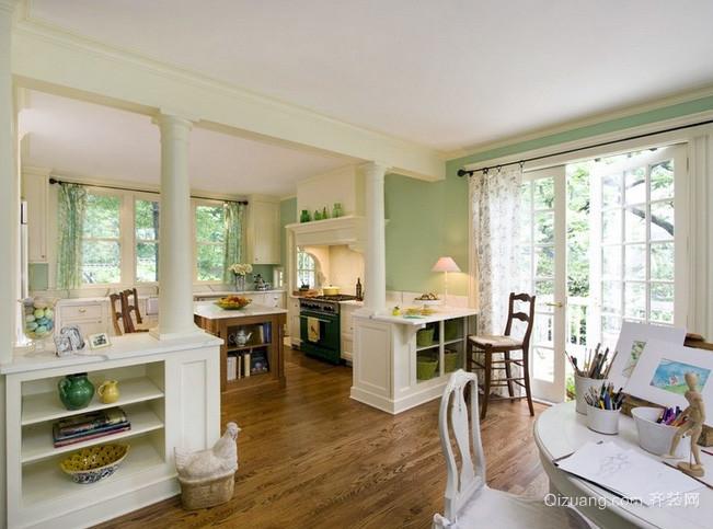 美式简约风格白色系开放式厨房装修效果图