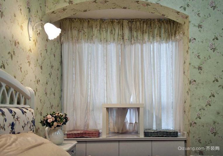 跃层唯美风格飘窗窗帘效果图