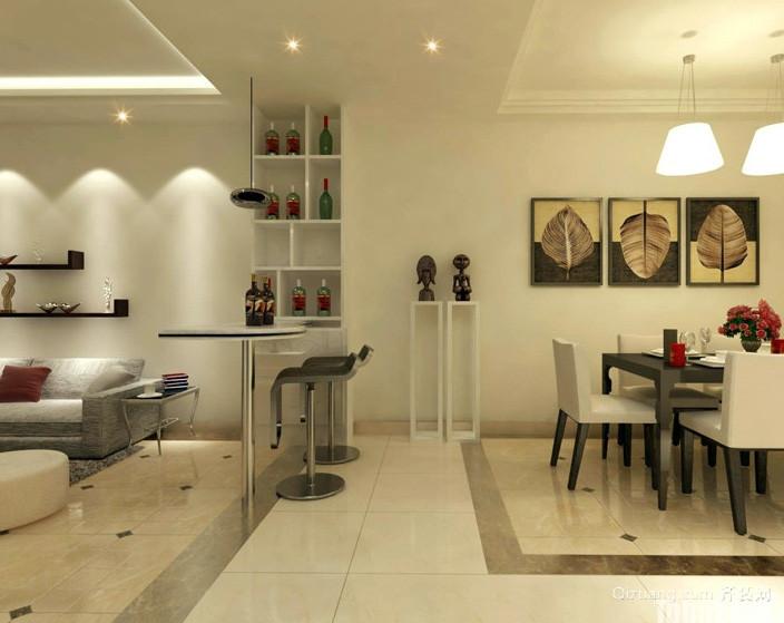 二居室精致型吧台设计装修效果图