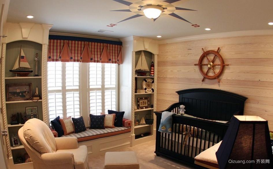 地中海混搭大卧室飘窗设计装修效果图
