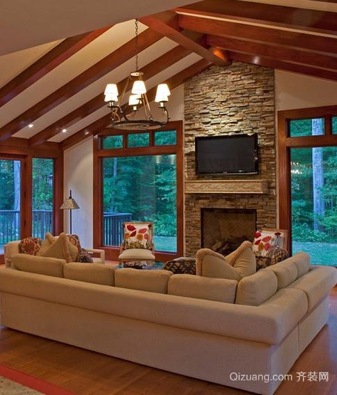 美式简约风格原木斜顶阁楼装修效果图