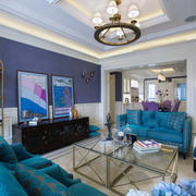 135㎡清婉旖旎地中海大户型客厅吊顶装修效果图