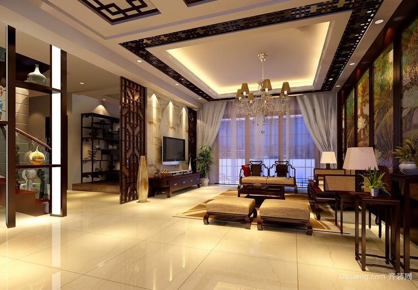 新中式客厅电视背景墙隔断装修设计效果图