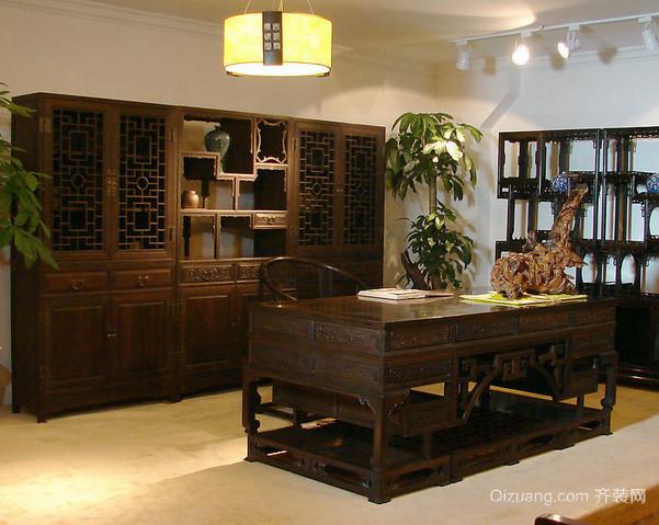 中式简约复古风格深色系书房装修效果图