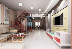 三居室家庭阁楼实木楼梯装修设计效果图