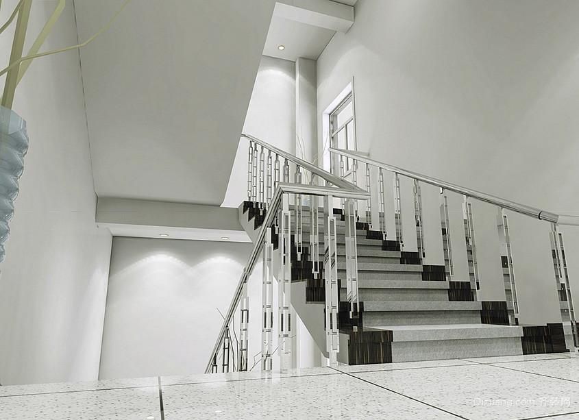 公寓安全楼梯铁艺扶手装修设计效果图