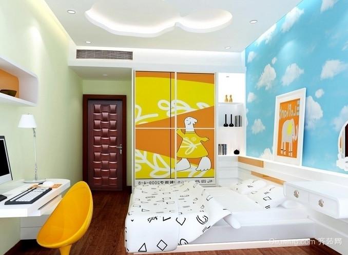 两室一厅现代简约轻快儿童房装修效果图