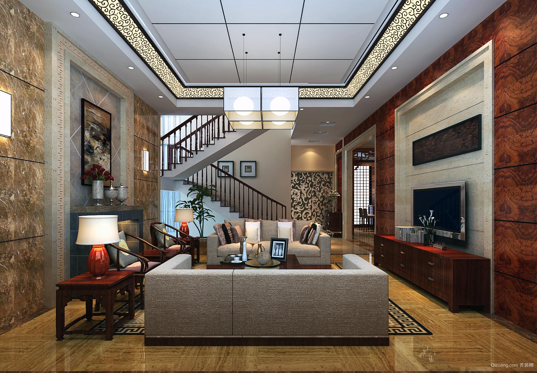 110㎡小户简欧复式洋房客厅吊顶装修效果图