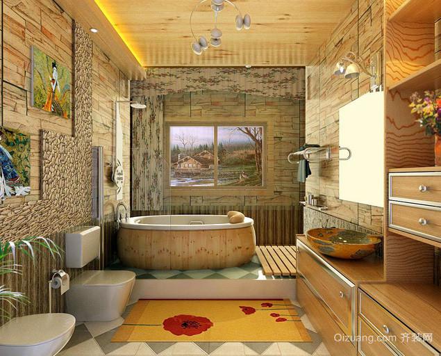 大型日式别墅原木材料搭配卫生间装修效果图