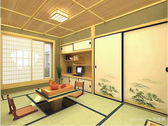 现代日式轻快大户型榻榻米床装修效果图