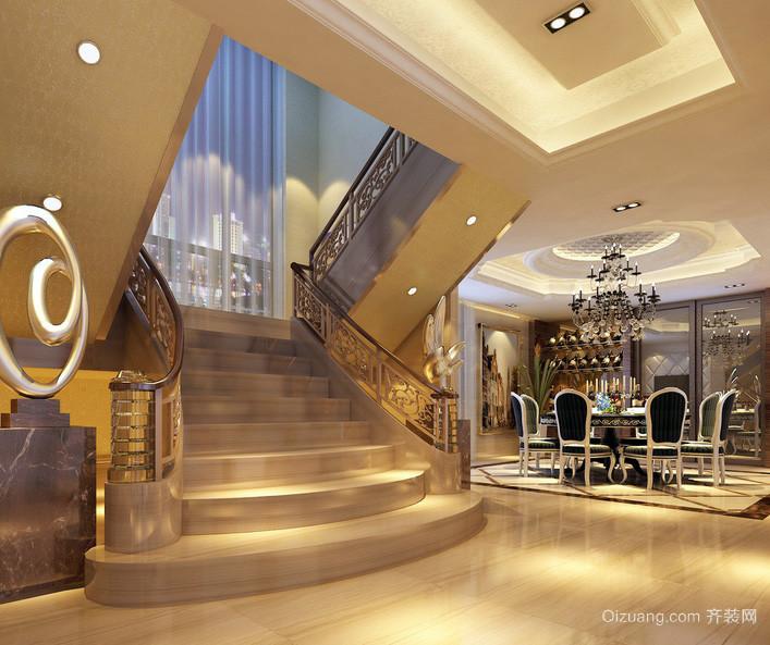 简欧豪华别墅楼梯装修设计效果图