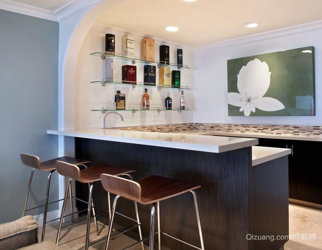 复式楼后现代简约风格厨房吧台装修效果图