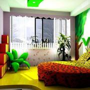 自然风格清新圆形床饰儿童房装修效果图