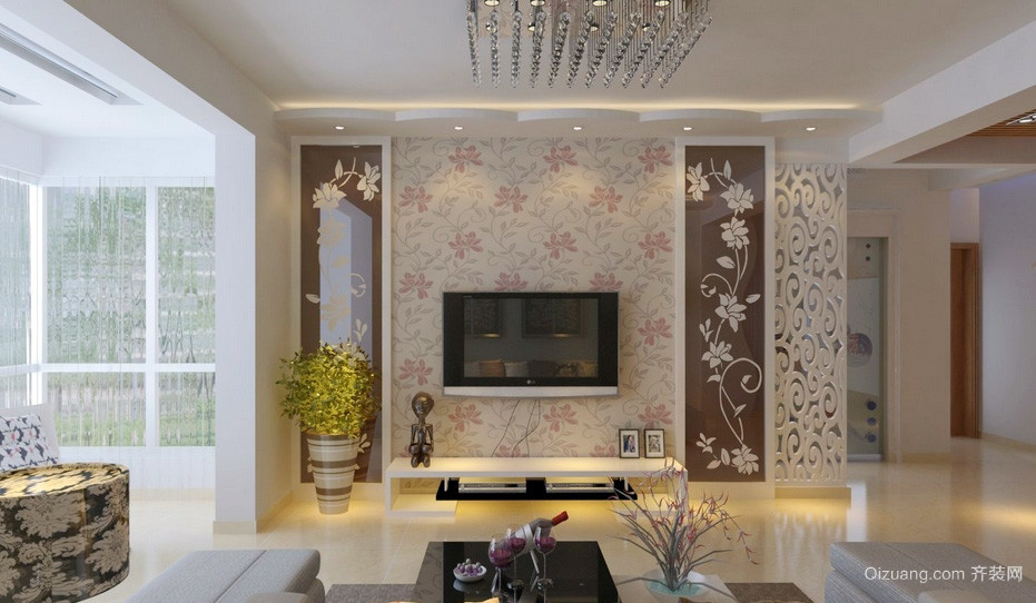 140平米色调鲜艳客厅电视背景墙效果图