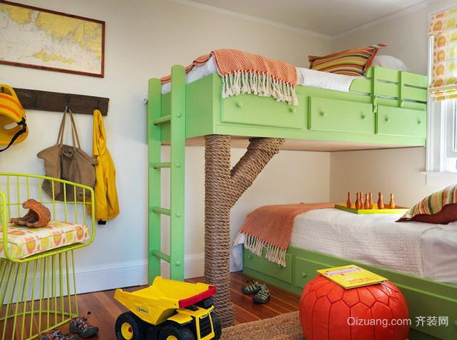 美式清新风格双胞胎儿童房装修效果图