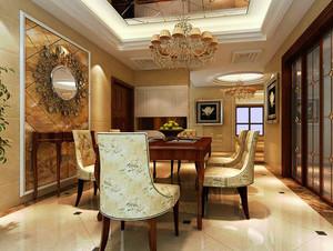 别墅欧式奢华餐厅背景墙装饰效果图