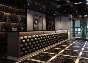 中式酒楼深色系古韵吧台装修效果图