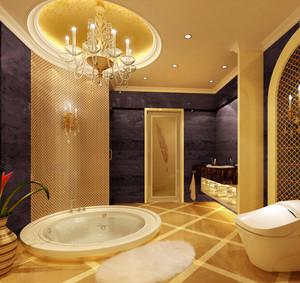 别墅暖色调卫生间装修效果图