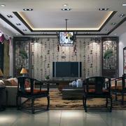 现代大户型中式客厅装修效果图