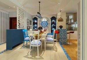 大户型地中海餐厅吧台装修设计效果图