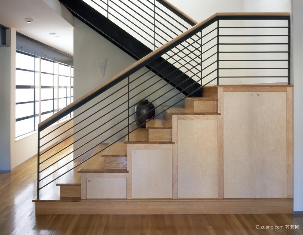 2015简约时尚小户型复式楼梯装修效果图