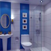 蓝白相间卫生间效果图