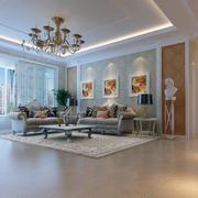 现代欧式三居室沙发背景墙装修效果图