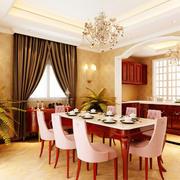 混搭美式118㎡餐厅背景墙装饰设计效果图