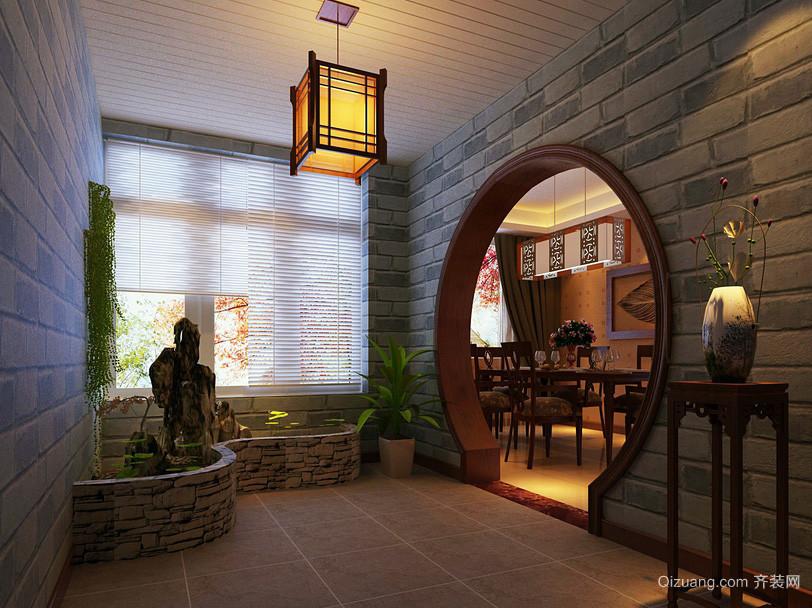 中式优雅小别墅入户花园装修效果图