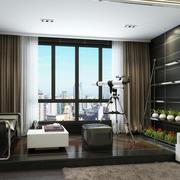 后现代风格内嵌式高层阳台装修效果图