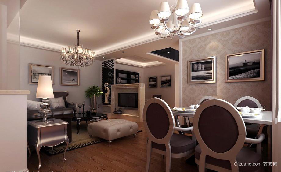 简欧风格餐厅背景墙装饰设计效果图