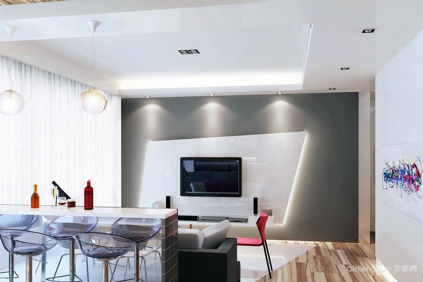 92平米日式小户型客厅吧台装修效果图