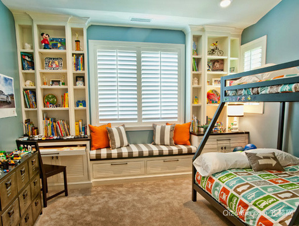 美式简约风格儿童房飘窗装修效果图