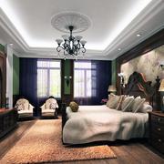 大户型美式风格卧室背景墙装修效果图