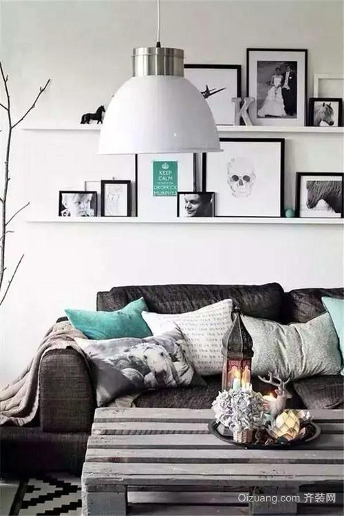 小户型北欧风格浅色沙发背景墙装饰