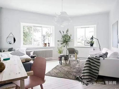 90平米小户型北欧简约白色系客厅装修效果图