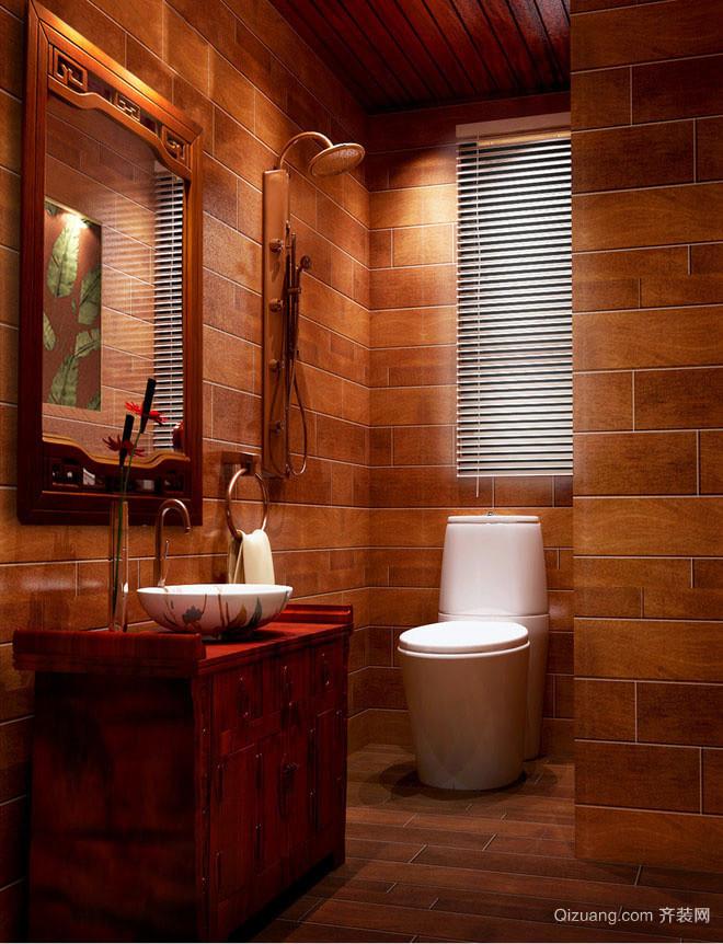 大户型东南亚风格原木深色卫生间装饰效果图