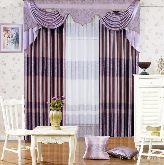 别墅鲜艳色调飘窗窗帘效果图