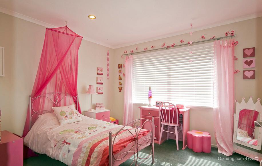 女孩子可爱粉色儿童房装修设计效果图