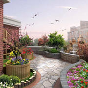 山水人家:美式简约风格别墅庭院装修效果图