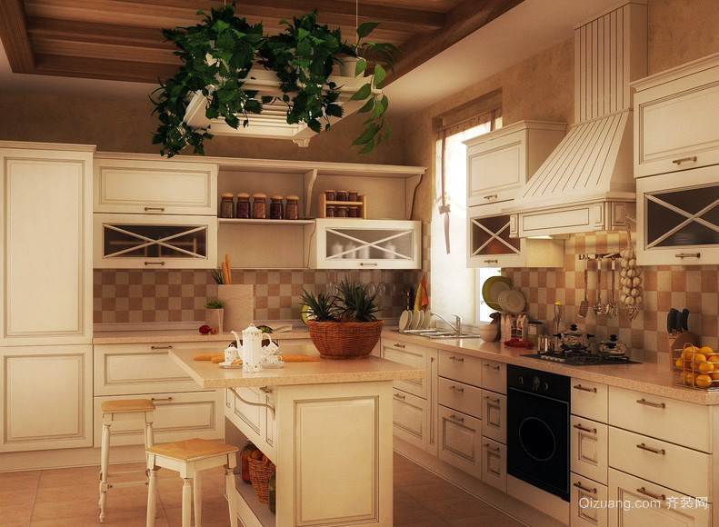 现代田园风格开放式厨房装修效果图