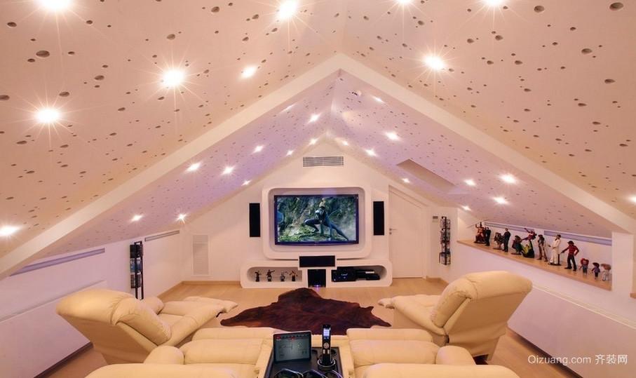 三居室唯美型斜顶阁楼装修效果图