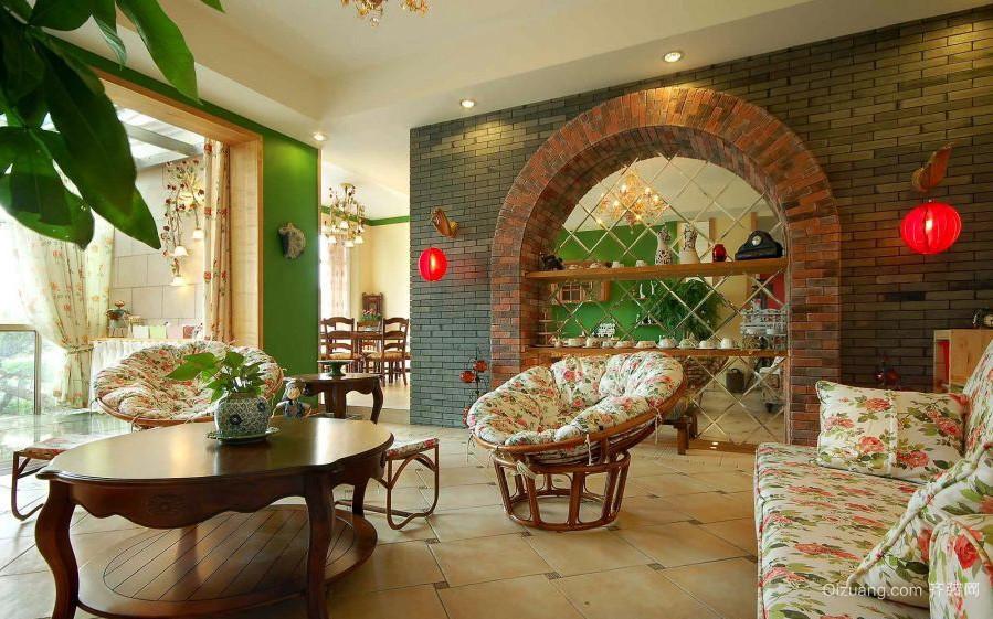 美式田园风格别墅客厅装修效果图